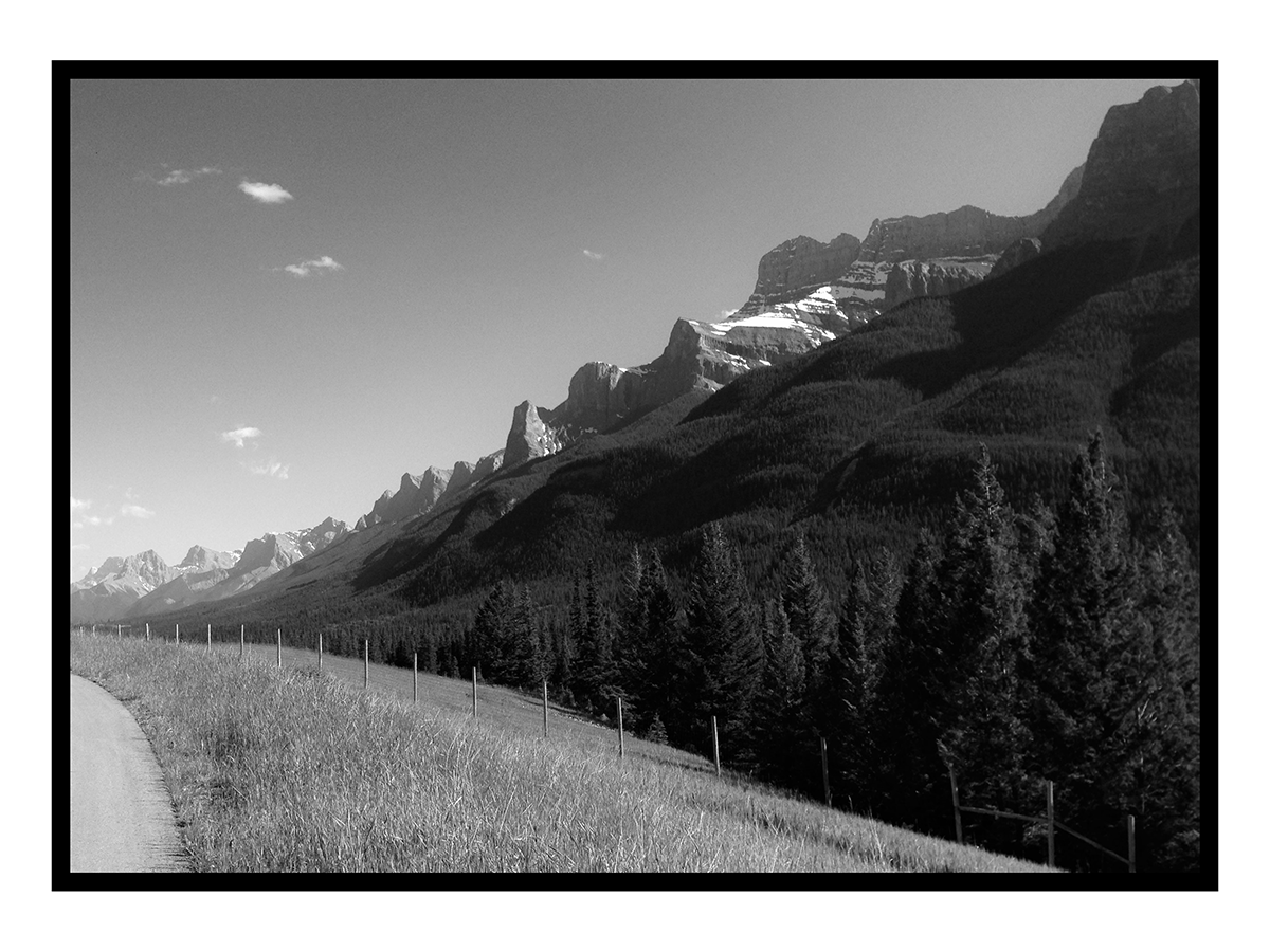 black and white of canmore ride